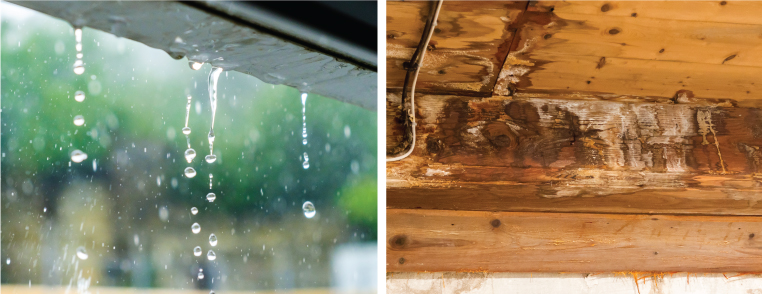 雨漏り・漏水の原因は防水層のヒビ割れや排水口の詰まりが多いです。早めの対処をお勧めいたします。